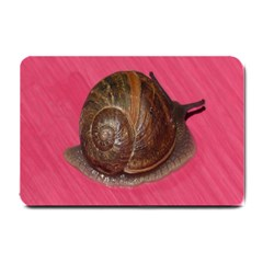 Snail Pink Background Small Doormat