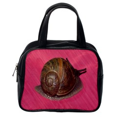 Snail Pink Background Classic Handbags (One Side)