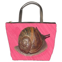 Snail Pink Background Bucket Bags
