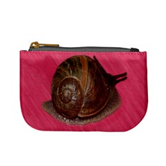 Snail Pink Background Mini Coin Purses