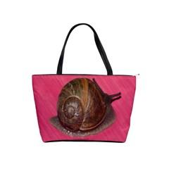 Snail Pink Background Shoulder Handbags