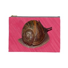 Snail Pink Background Cosmetic Bag (Large)