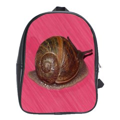 Snail Pink Background School Bags(Large)