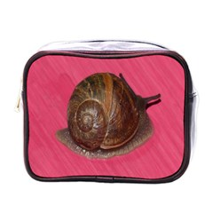 Snail Pink Background Mini Toiletries Bags
