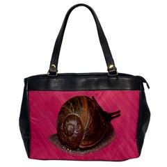 Snail Pink Background Office Handbags