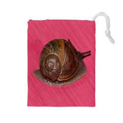Snail Pink Background Drawstring Pouches (Large)