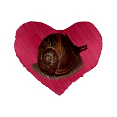 Snail Pink Background Standard 16  Premium Flano Heart Shape Cushions