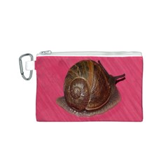 Snail Pink Background Canvas Cosmetic Bag (S)