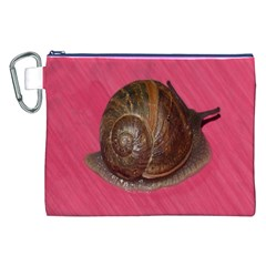 Snail Pink Background Canvas Cosmetic Bag (XXL)