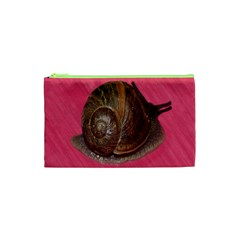 Snail Pink Background Cosmetic Bag (XS)