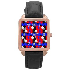 Pattern Abstract Artwork Rose Gold Leather Watch