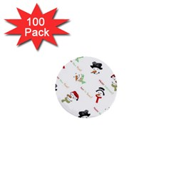 Snowman Christmas Pattern 1  Mini Buttons (100 pack)