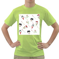 Snowman Christmas Pattern Green T-Shirt