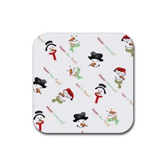 Snowman Christmas Pattern Rubber Coaster (Square)