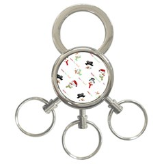 Snowman Christmas Pattern 3-Ring Key Chains