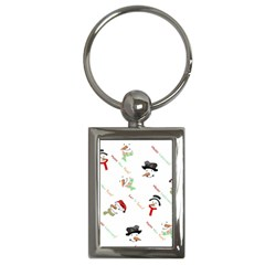 Snowman Christmas Pattern Key Chains (Rectangle)