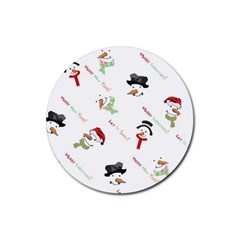 Snowman Christmas Pattern Rubber Coaster (round)
