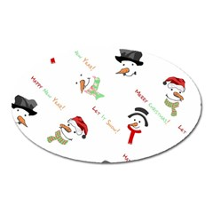 Snowman Christmas Pattern Oval Magnet