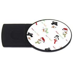Snowman Christmas Pattern USB Flash Drive Oval (2 GB)