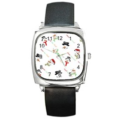 Snowman Christmas Pattern Square Metal Watch