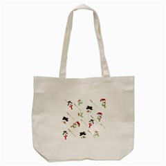 Snowman Christmas Pattern Tote Bag (Cream)