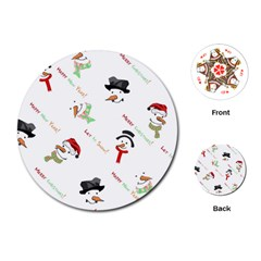Snowman Christmas Pattern Playing Cards (Round)