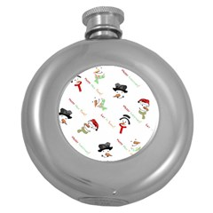 Snowman Christmas Pattern Round Hip Flask (5 oz)