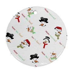 Snowman Christmas Pattern Round Ornament (Two Sides)