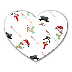 Snowman Christmas Pattern Heart Mousepads