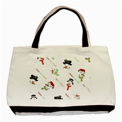 Snowman Christmas Pattern Basic Tote Bag (two Sides)