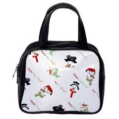 Snowman Christmas Pattern Classic Handbags (One Side)
