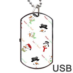 Snowman Christmas Pattern Dog Tag USB Flash (Two Sides)