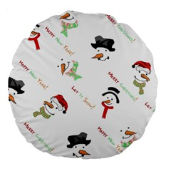 Snowman Christmas Pattern Large 18  Premium Round Cushions