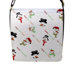 Snowman Christmas Pattern Flap Messenger Bag (l)