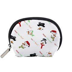 Snowman Christmas Pattern Accessory Pouches (small)