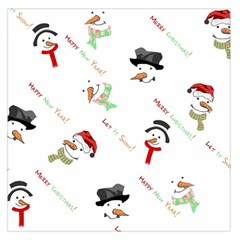 Snowman Christmas Pattern Large Satin Scarf (square)