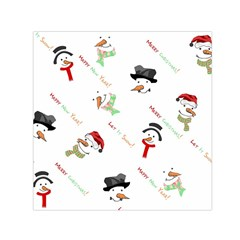 Snowman Christmas Pattern Small Satin Scarf (square)