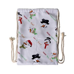 Snowman Christmas Pattern Drawstring Bag (small)