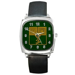 One Stroke Owl Square Metal Watch