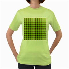 Geometric Tartan Pattern Square Women s Green T-Shirt