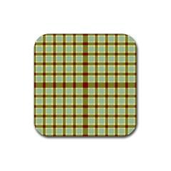 Geometric Tartan Pattern Square Rubber Square Coaster (4 pack)