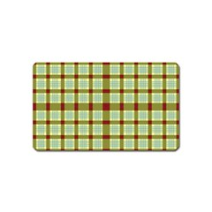 Geometric Tartan Pattern Square Magnet (Name Card)