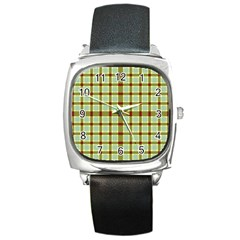 Geometric Tartan Pattern Square Square Metal Watch