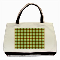 Geometric Tartan Pattern Square Basic Tote Bag