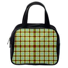 Geometric Tartan Pattern Square Classic Handbags (One Side)
