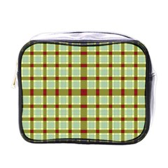 Geometric Tartan Pattern Square Mini Toiletries Bags