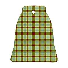 Geometric Tartan Pattern Square Ornament (bell)