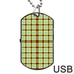 Geometric Tartan Pattern Square Dog Tag USB Flash (One Side)