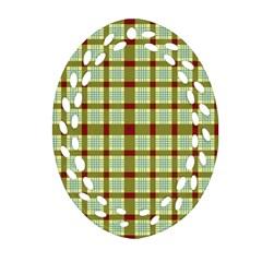 Geometric Tartan Pattern Square Oval Filigree Ornament (two Sides)