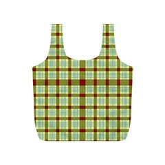 Geometric Tartan Pattern Square Full Print Recycle Bags (S)